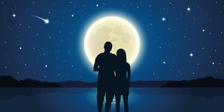 Romantic night couple in love at the sea with full moon and falling stars. Vector illustration EPS10 royalty free illustration