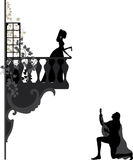 Romantic night. Illustration of troubadour, who singing  love song for young girl on the balcony Stock Photos