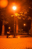 Romantic night park. Consequences of active evening in a city park Stock Image
