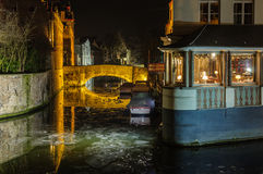 Romantic night scenery in Bruges, Belgium Stock Image