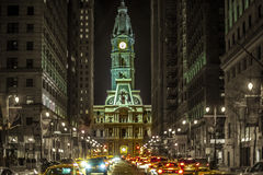 Romantic night streetlight. In the city of Philadelphia Royalty Free Stock Image