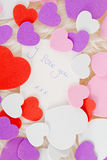 Romantic note with hearts Stock Photo