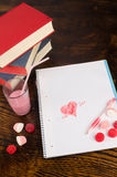 Romantic notebook stock images