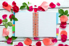 Romantic notepad background Stock Images