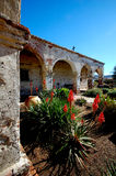 Romantic Old Catholic Mission Courtyard Stock Photo