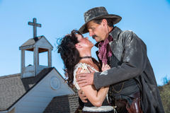 Romantic Old West Man and Woman Stock Photo