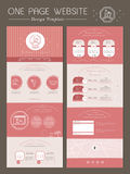 Romantic one page website template design. In pink Royalty Free Stock Photos
