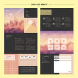 Romantic one page website template design Stock Images