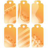 Romantic orange tags or labels with hearts Royalty Free Stock Images