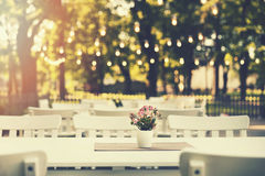 romantic outdoor restaurant in park with string lights royalty free stock images