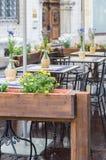 Romantic outdoor restaurant terrace Royalty Free Stock Image