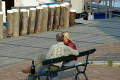 Romantic outing, couple. Couple on romantic outing, date in the harbor. Vacation, holiday, love concept Stock Photography