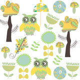 Romantic owls retro seamless pattern. It is located in swatch me Royalty Free Stock Photography