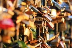 Romantic padlocks Stock Images