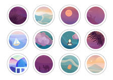 Romantic painting circles with different low polygon style textures Royalty Free Stock Photos