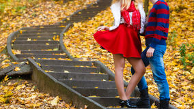 Romantic pair meet in park standing on stairs. Royalty Free Stock Photos