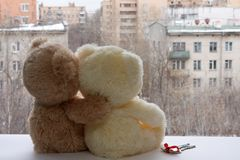 Romantic pair of teddy bears dreaming Royalty Free Stock Images