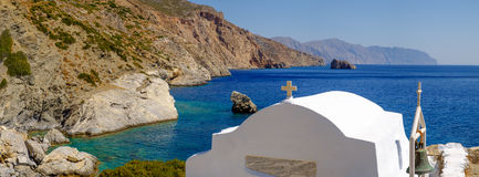 Romantic panorama view of beach with chapel,Greece Royalty Free Stock Photos