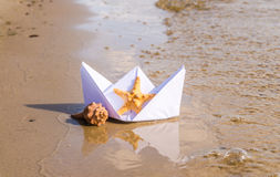 Romantic paper boat Royalty Free Stock Photo
