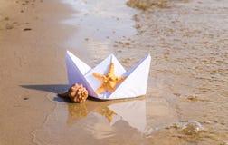 Romantic paper boat Royalty Free Stock Photo