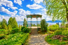 Romantic park in Ueberlingen, Germany. View on lake Constance Bodensee in Ueberlingen, Germany stock photo