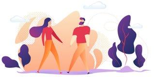 Romantic Partners Having Dating, Meeting on Street royalty free illustration