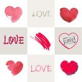 Romantic pastel inscription love on the background of stylized heart. Set. Stock Photo
