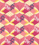 Romantic patchwork pattern with butterflies. Stock Photography