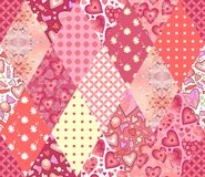 Romantic patchwork pattern. Seamless background in pink tones. Cute illustration of quilting. Stock Image