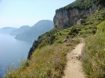 Romantic path named  path  of the Gods on the Amalfi Coast in the sud of Italy. Royalty Free Stock Image