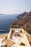 Romantic Patio Santorini Stock Photos