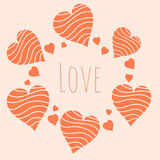 Romantic pattern. Romantic background with big and small hearts Royalty Free Stock Photo