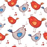 Romantic pattern with birds, hearts on a white background. Red Blue. Seamless pattern can be used for wallpapers. Pattern fills, web page backgrounds, surface royalty free illustration