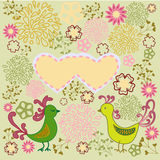 Romantic pattern Birds in love. Valentine´s day design. Lovebirds colorful heart shape card design Stock Photography