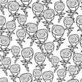 Romantic pattern of black and white roses. Stock Image