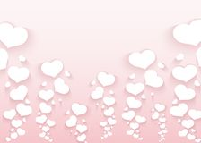 Romantic pattern with flying hearts on a pink background Empty template for poster banner Valentine`s Day advertisements wedding royalty free illustration