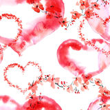 Romantic pattern with hearts Stock Photo