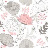 Romantic pattern with poppy flowers Stock Photography