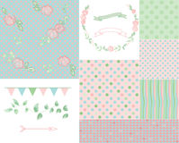 Romantic pattern set Stock Image