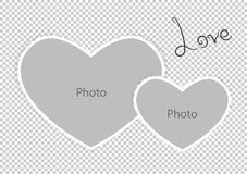 Romantic photo frame form hearts of St Valentines Day. Vector illustration Stock Photography