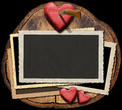 Romantic Photo Frames on Section of Tree Trunk Royalty Free Stock Images