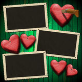 Romantic Photo Frames on Wood Green Wall Stock Photography