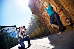 Romantic photo shoot with woman Royalty Free Stock Images