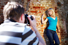 Romantic photo shoot with woman Royalty Free Stock Photos