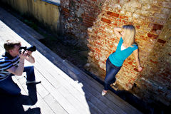 Romantic photo shoot with woman royalty free stock photo