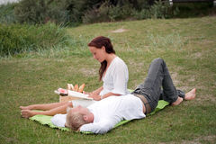 Romantic picnic. Cute young couple on romantic picnic Royalty Free Stock Images