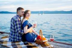 Romantic picnic by the lake Stock Photo