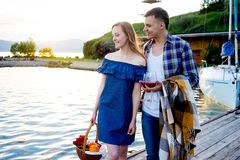 Romantic picnic by the lake Royalty Free Stock Images