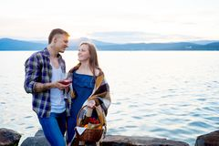 Romantic picnic by the lake Stock Photography