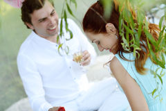 Romantic picnic. Love. Romantic picnic in the park Royalty Free Stock Images
